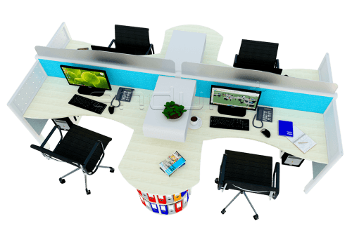 Foto produk  Cubicle 4 Staff Workstation With Slimmo Partition di Arsitag