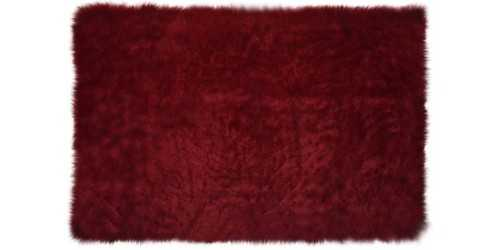 Maroon Square Fur Rug Small DécorTextiles And Rugs