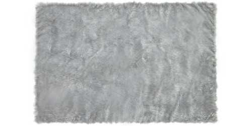 Grey Square Fur Rug Small DécorTextiles And Rugs