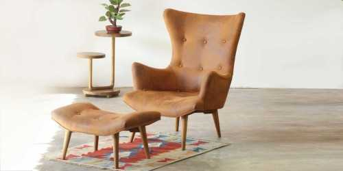 Leather Phillipe Armchair With Ottoman Camel FurnitureSofa And ArmchairsSofas