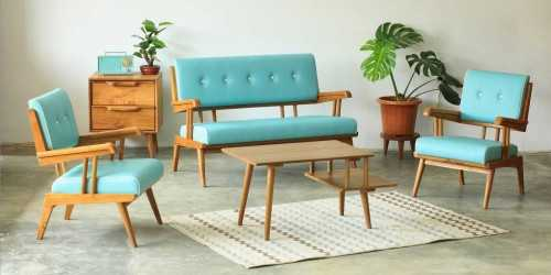 Lizzy Living Set Sky Blue FurnitureSofa And ArmchairsSofas