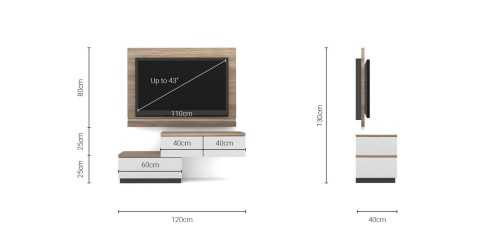 Foto produk  Case Cabinet  With Tv Panel Type A White-Mocha Maple di Arsitag