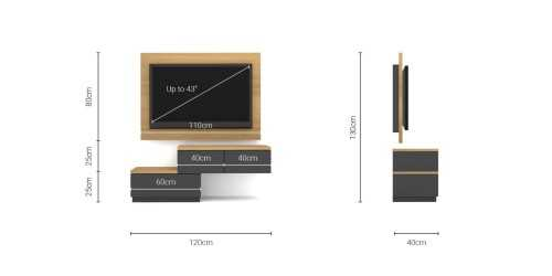 Foto produk  Case Cabinet  With Tv Panel Type A Dark Grey-Desert Oak di Arsitag