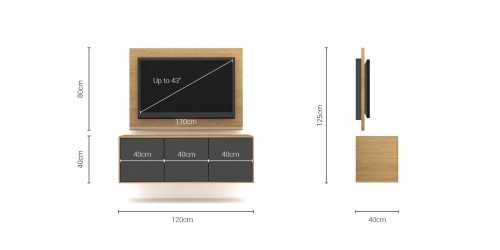 Foto produk  Case Cabinet  With Tv Panel Type B Dark Grey-Desert Oak di Arsitag