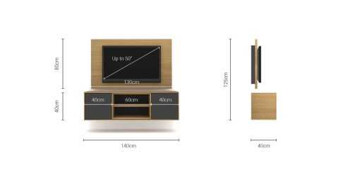 Foto produk  Case Cabinet  With Tv Panel Type C Dark Grey-Desert Oak di Arsitag